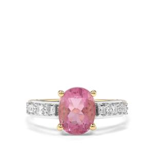 Natural Pink Fluorite & White Zircon 9K Gold Ring ATGW 2.52cts