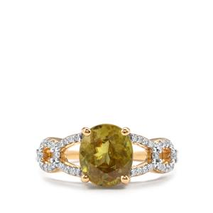 Ambilobe Sphene & Diamond 18K Gold Tomas Rae Ring MTGW 3.07cts