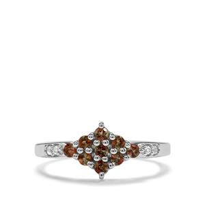 Sopa Andalusite & White Topaz Sterling Silver Ring ATGW 0.44cts