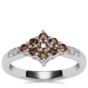 Sopa Andalusite Ring with White Topaz in Sterling Silver 0.44ct