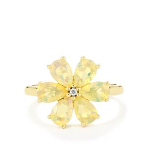 Ethiopian Opal Ring with White Zircon in 10K Gold 1.54cts
