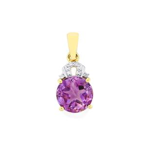 Moroccan Amethyst Lone Star Pendant with White Zircon in 10K Gold 2.95cts