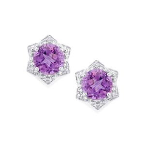 Ametista Amethyst Lone Star Earrings with White Topaz in Sterling Silver 2.84cts