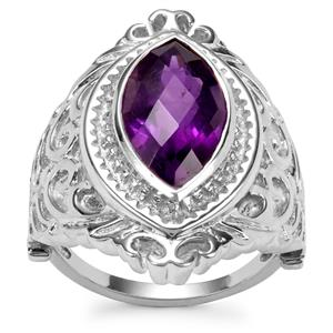 Zambian Amethyst Ring in Sterling Silver 6cts