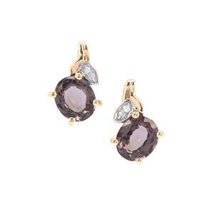 Burmese Purple Spinel Earrings with Diamond in 9K Gold 1.40cts