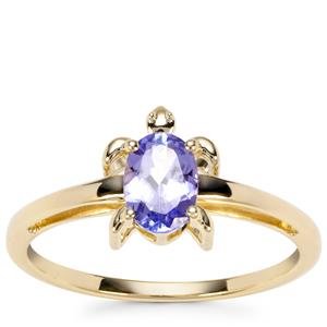 AA Tanzanite Tortoise Design Ring in 9K Gold 0.64ct