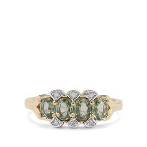 Green Sapphire & Diamond 9K Gold Ring ATGW 1.33cts