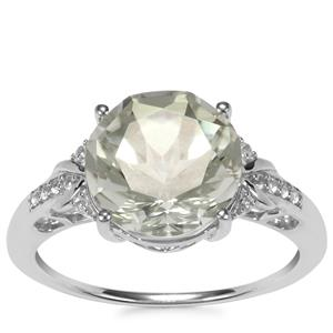 Prasiolite & White Topaz Sterling Silver Cupid Ring ATGW 3.83cts
