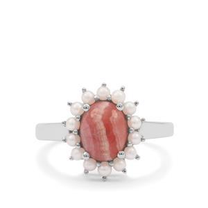 Rhodochrosite Ring with Kaori Cultured Pearlin Sterling Silver