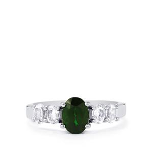 Chrome Diopside & White Topaz Sterling Silver Ring ATGW 1.88cts