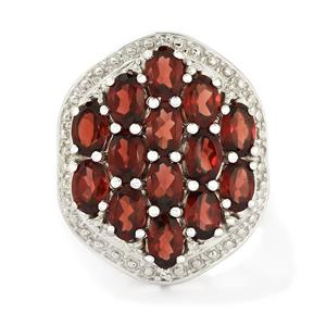 Mozambique Garnet & White Topaz Sterling Silver Ring ATGW 7.89cts