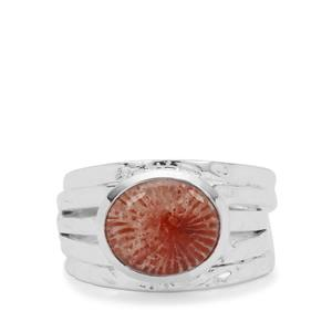 4ct Red Horn Coral Sterling Silver Ring