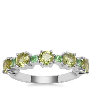Red Dragon Peridot Ring with Tsavorite Garnet in Sterling Silver 1.65cts