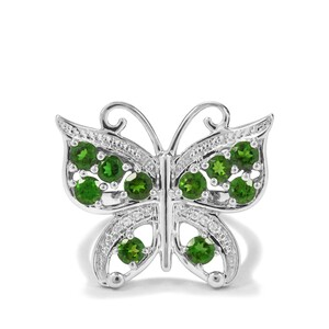 Chrome Diopside & White Zircon Sterling Silver Butterfly Ring ATGW 1.34cts