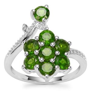 Chrome Diopside Ring with Diamond in Sterling Silver 2.25cts