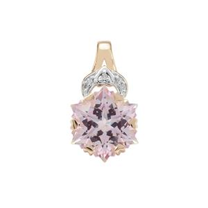 Wobito Snowflake Cut Pink Minx Topaz Pendant with Diamond in 9K Gold 5.40cts