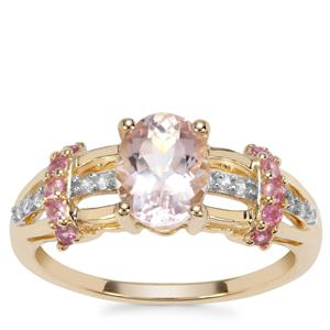 Nigerian Morganite, Pink Sapphire Ring with Pink Sapphire in 9K Gold 1.33cts