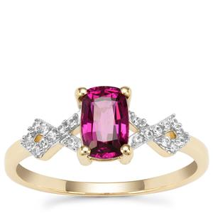 Comeria Garnet Ring with White Zircon in 9K Gold 1.32cts