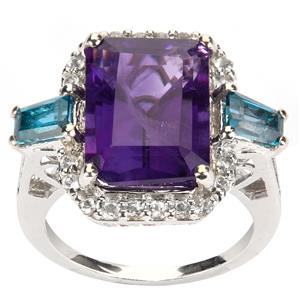 Amethyst Ring with London Blue Topaz in Sterling Silver 7.41cts