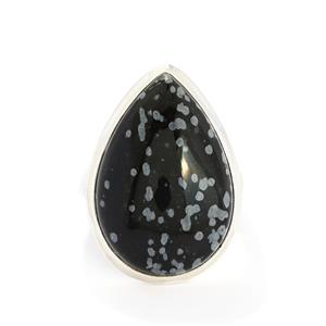 22.66ct Snowflake Obsidian Sterling Silver Aryonna Ring