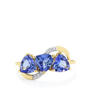 Tanzanite Ring with White Zircon in 10k Gold 2.16cts