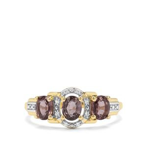 Burmese Purple Spinel & White Zircon 9K Gold Ring ATGW 1.47cts
