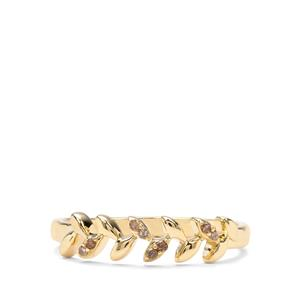Champagne Diamond 9K Gold Ring