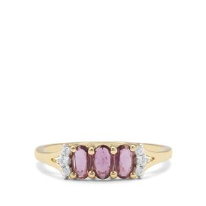 Thai Ruby Ring with White Zircon in 9K Gold 0.83ct