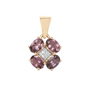 Mahenge Purple Spinel & Diamond 9K Gold Pendant ATGW 1.88cts