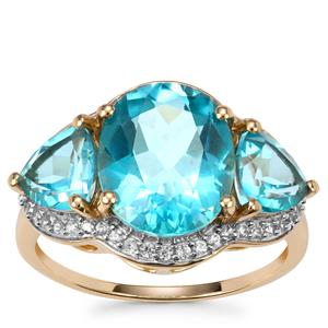 Batalha Topaz Ring with White Zircon in 9K Gold 6.18cts