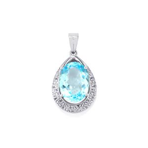 Sky Blue Topaz Pendant with White Topaz in Sterling Silver 11.13cts
