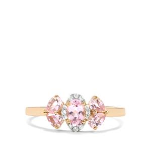 Imperial Pink Topaz & White Zircon 9K Gold Ring ATGW 0.95cts