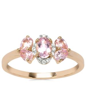 Imperial Pink Topaz Ring with White Zircon in 10K Gold 0.95ct