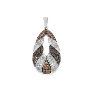 1.50ct Champagne, Black & White Diamond Sterling Silver Pendant
