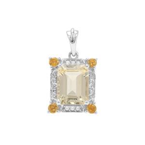Serenite Pendant, Diamantina Citrine with White Zircon in Sterling Silver 3.31cts