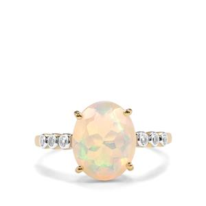 Ethiopian Opal Ring with White Zircon in 9K Gold 2.10cts