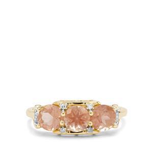 Padparadscha Oregon Sunstone & Diamond 9K Gold Ring ATGW 1.46cts