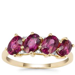 Comeria Garnet Ring with Diamond in 9K Gold 2.37cts