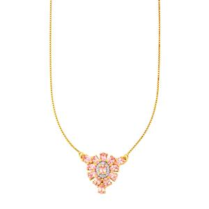 Mozambique Pink Spinel Necklace with Diamond in 10k Gold 2.49cts