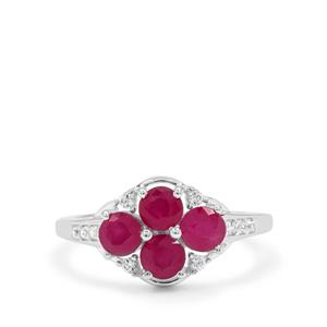 John Saul Ruby Ring with White Zircon in Sterling Silver 1.90cts