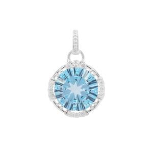 Sky Blue Topaz Pendant with White Zircon in Sterling Silver 7.45cts