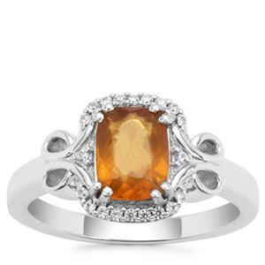 Burmese Amber Ring with White Zircon in Sterling Silver (8x6mm)