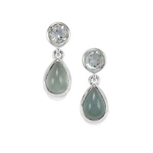 Aquamarine Earrings with Blue Topaz in Sterling Silver 6.09cts