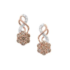 Champagne Diamond Earrings with White Diamond in 9K Rose Gold 1cts