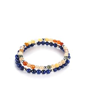 Sar-i-Sang Lapis Lazuli Set of 2 Elasticated Bracelets with Rutile Quartz in Sterling Silver 106.20cts
