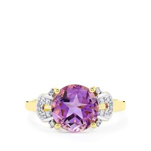 Moroccan Amethyst & White Zircon 9K Gold Lone Star Ring ATGW 3.03cts