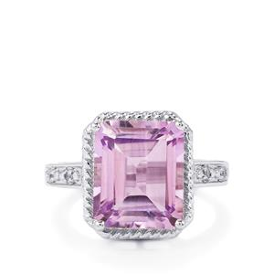 Rose De France Amethyst & White Topaz Sterling Silver Ring ATGW 5.56cts