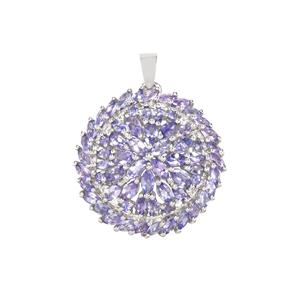 Tanzanite Pendant with White Zircon in Sterling Silver 5.70cts