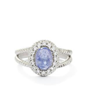 Tanzanite & White Topaz Sterling Silver Ring ATGW 3.90cts