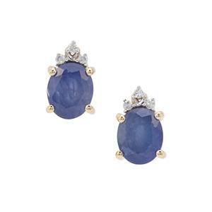 Burmese Blue Sapphire Earrings with Diamond in 9K Gold 1.71cts